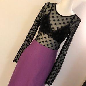 Zara Sheer Black Stretch Polka Dot Top Small
